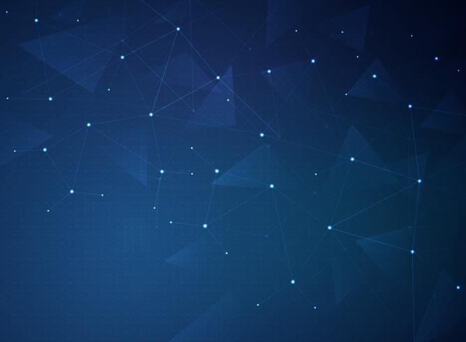 Fondo azul de la conexión de la tecnología del gradiente futurista abstracto. vector