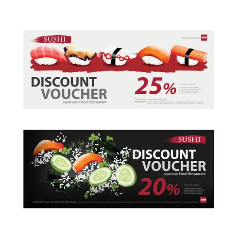 Japanese Food Voucher Discount Template Vector illustration