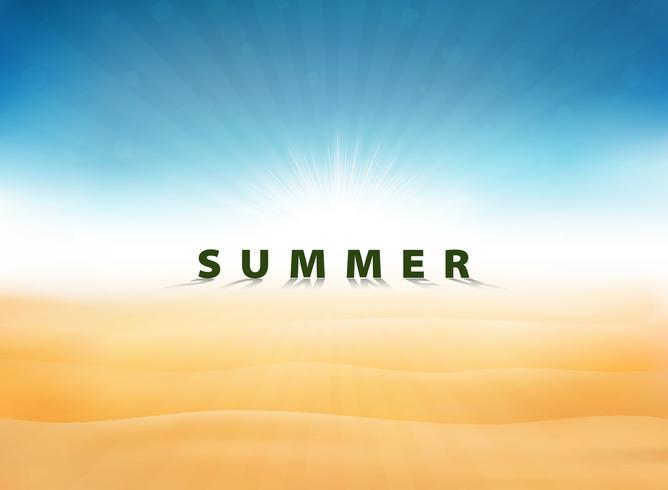 Abstracte zomer achtergrond met zon burst blauwe hemel op woestijn. U kunt gebruiken voor vakantie illustraties, advertentie, poster, presentatie, afdrukken.