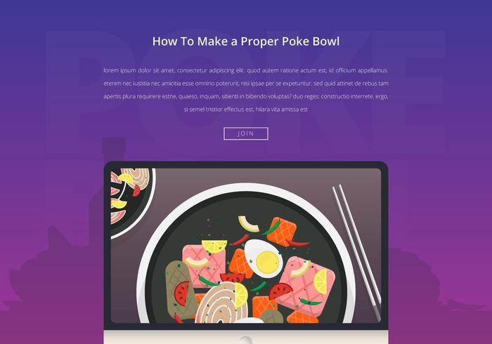 Poke bowl hälsosam mat illustration.