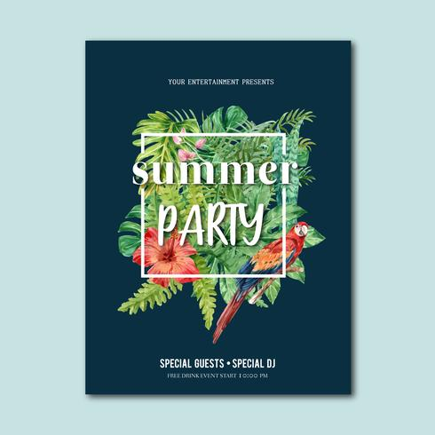 Summer poster design holiday party on the beach sea sunshine nature. vacation time, creative watercolor vector illustration design