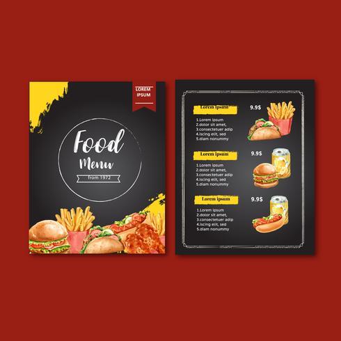 Projeto de menu do restaurante fast-food. Comida de aperitivo de lista de menu fundo fronteira, modelo de design, design criativo de ilustração vetorial aquarela