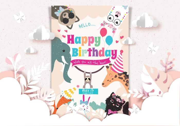 Gelukkige verjaardag dieren kaart Vector