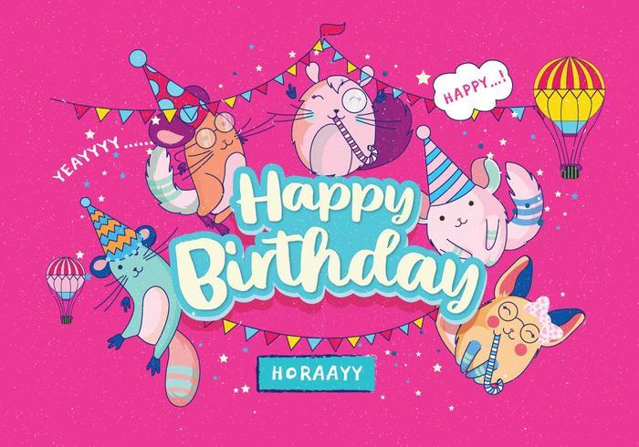 Gelukkige verjaardag dieren Vol 4 Vector