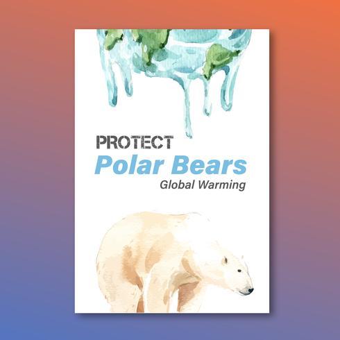El calentamiento global y la contaminación. Campaña publicitaria de folletos de folletos publicitarios, guardar el diseño de la plantilla del mundo, diseño de ilustración vectorial acuarela creativa