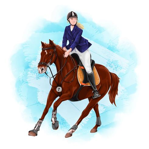 Woman Horseback Riding. Equestrian Sport. vector