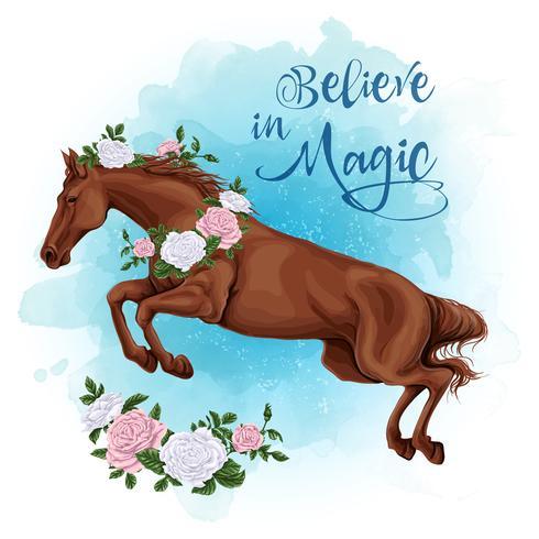 Esecuzione di cavallo bianco con un fondo dell'acquerello di rose.