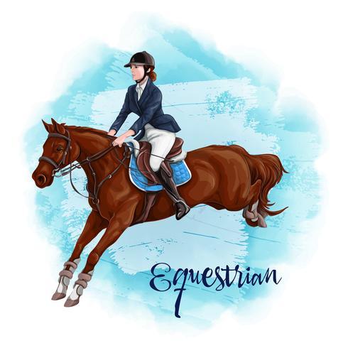 Mulher Equitação. Esporte Equestre. vetor