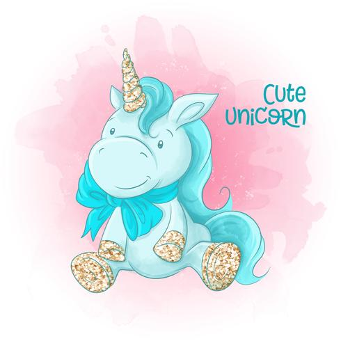 Cute Cartoon Unicorn on a Watercolor background vector
