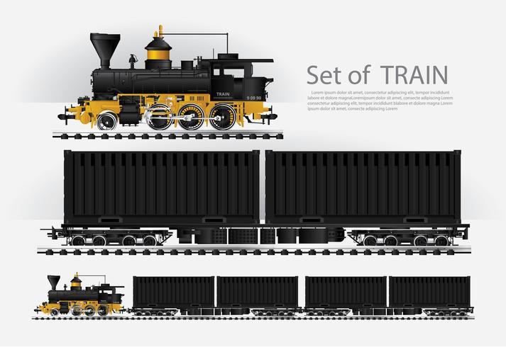 Tren de carga en una carretera de ferrocarril ilustración vectorial vector