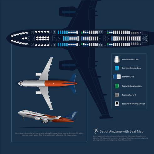 Set of Airplane Landing with Seat Map Isolated Vector Illustration
