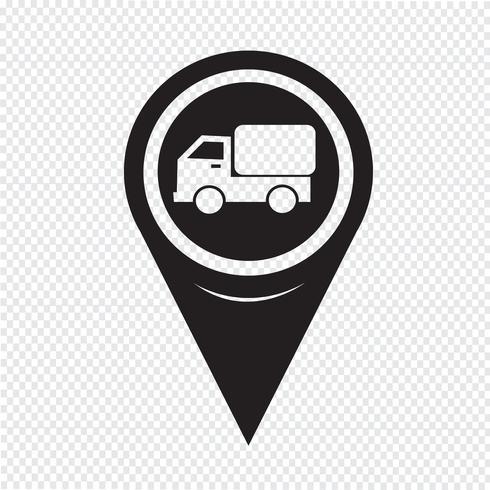 Kaart Aanwijzer Auto Vrachtwagen Pictogram
