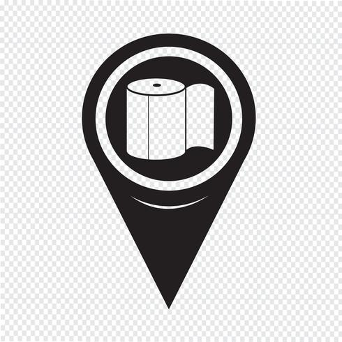 Kartenzeiger Toilettenpapier-Symbol