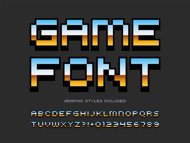 Retro Video Game Pixel Alphabet vector