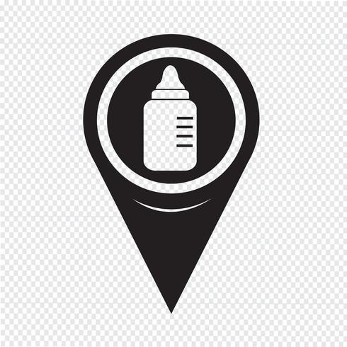 ícone de garrafa de leite de bebê de ponteiro de mapa