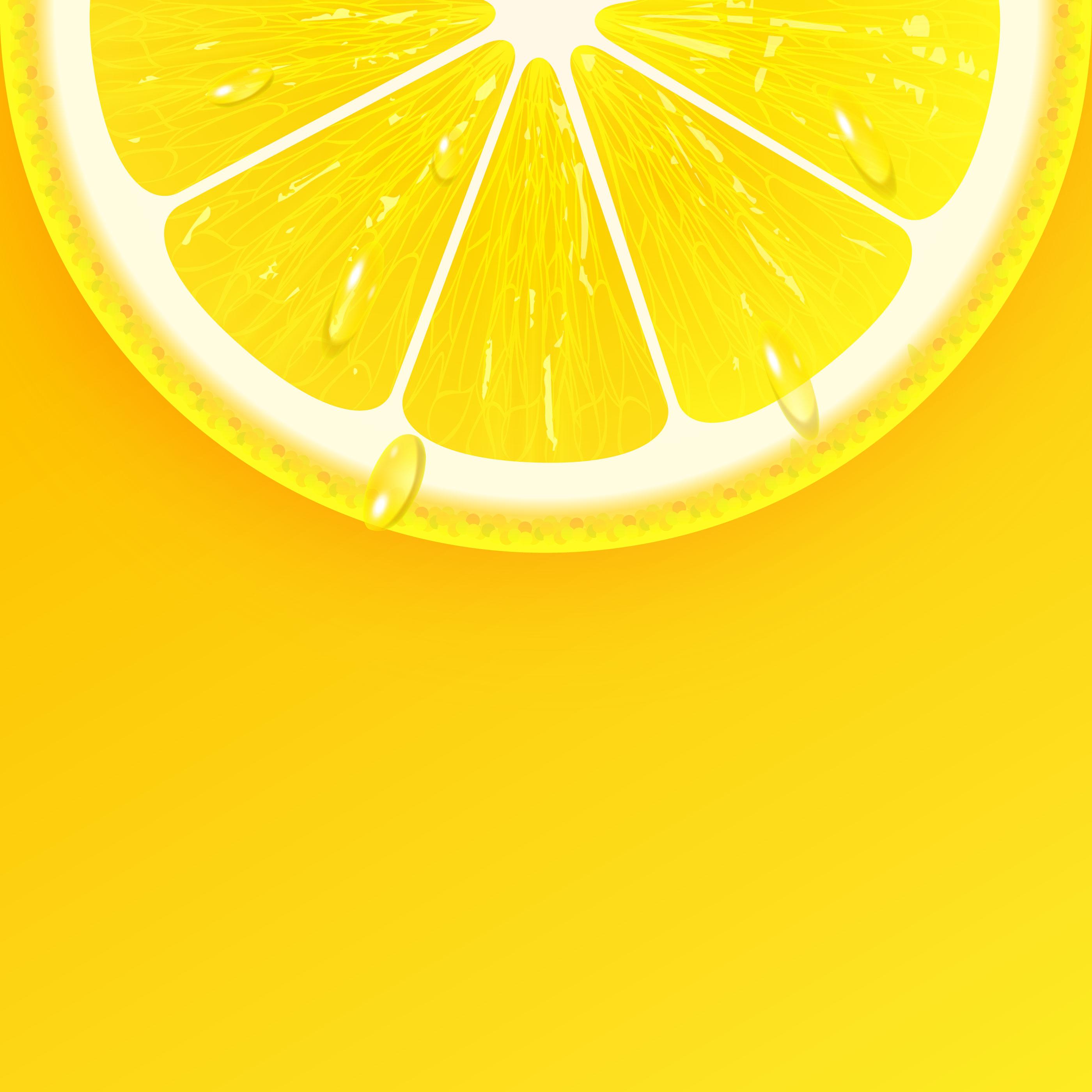 Sliced Fresh Lemon Background Vector