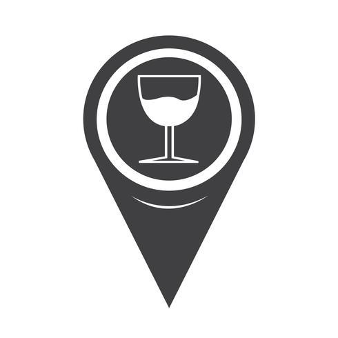 Mapa de puntero de vidrio icono de bebida vector