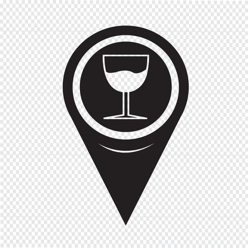 Mapa de puntero de vidrio icono de bebida