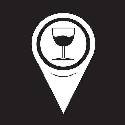 Mapa de ponteiro de vidro beber ícone