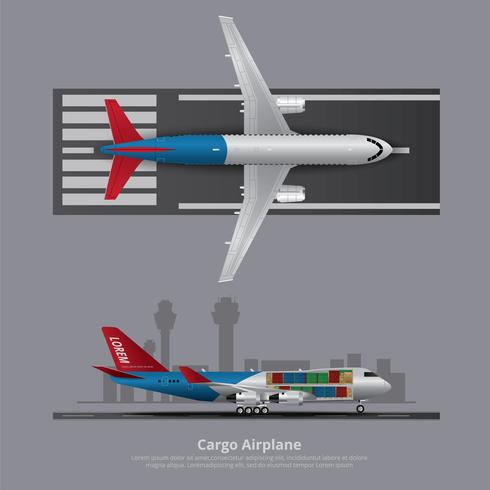 Cargo, avion, isolé, vecteur, illustration
