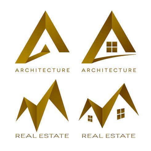 Arquitectura vector logotipos iconos de bienes raíces