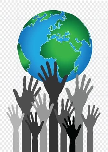 Idea de manos sosteniendo mundo y globo de mano
