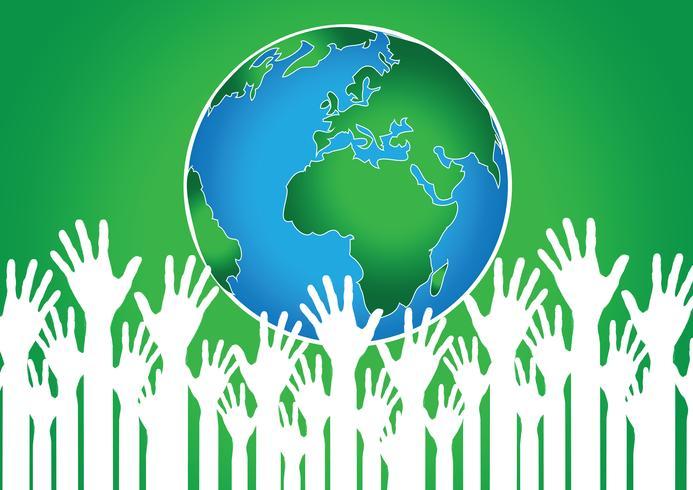 Idea de manos sosteniendo mundo y globo de mano vector