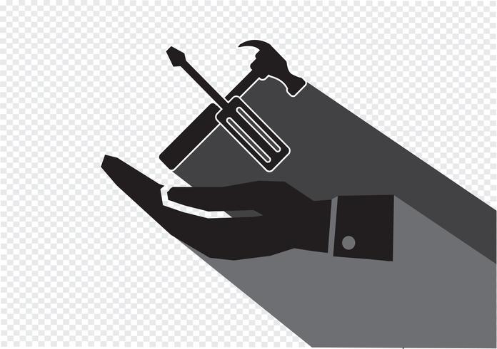 Icono de martillo de mano y herramientas vector