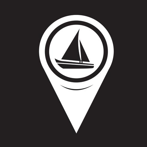 Mapa puntero icono de barco de vela vector