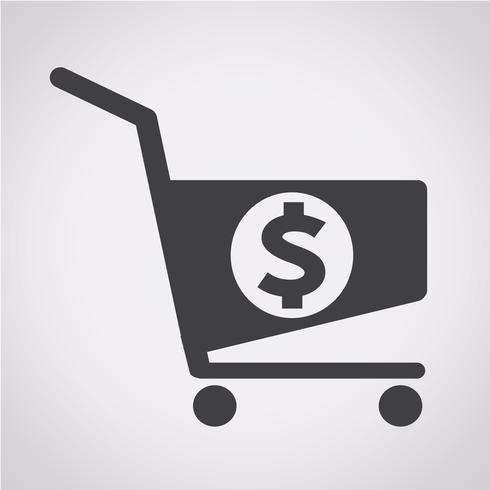 icono de carro de compras dólar vector