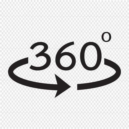 Icono de ángulo 360 grados vector