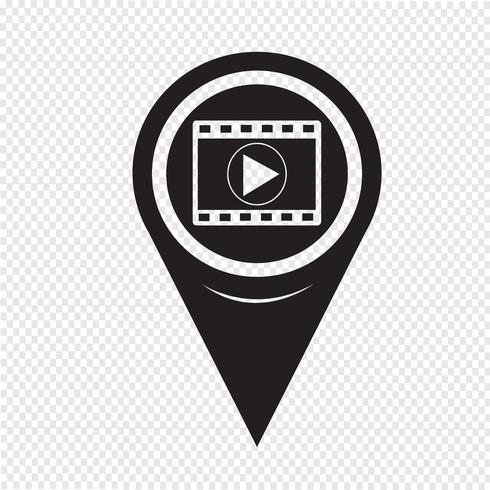 Mapa puntero icono de tira de película