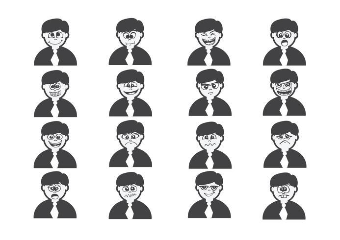 Caras de dibujos animados conjunto dibujo ilustración vector
