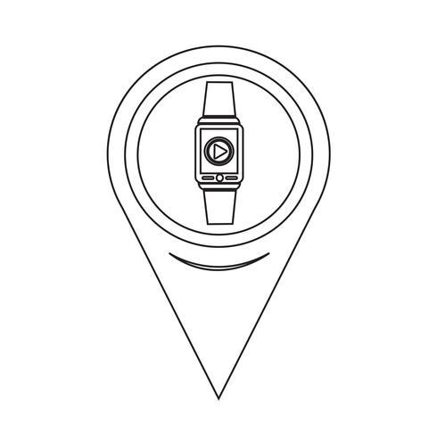Mapa puntero SmartWatch icono usable