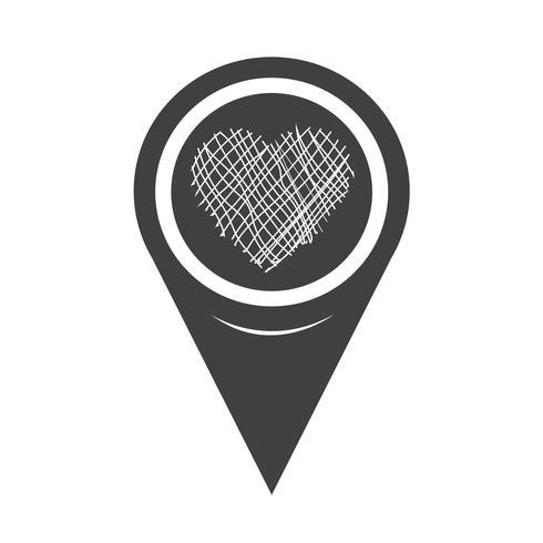 Mapa del puntero del icono del corazón vector