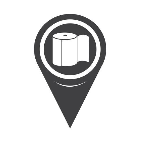 Icona di carta igienica puntatore mappa