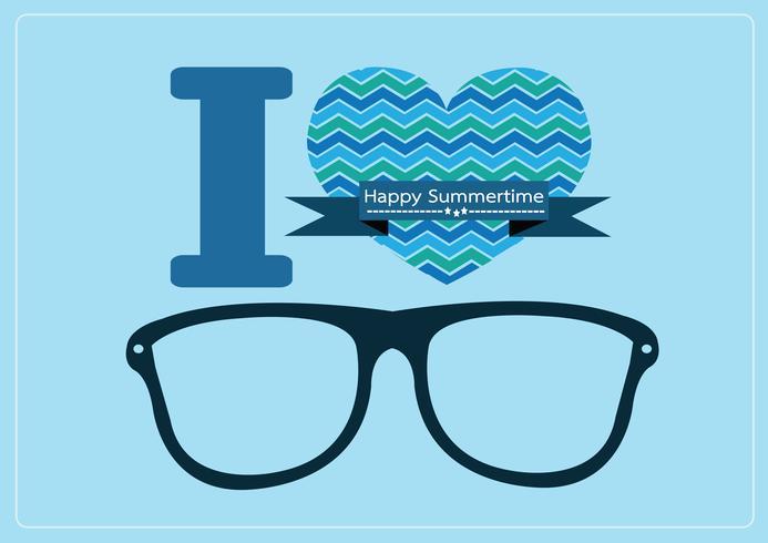 me encanta el verano con gafas de sol ilustración vector