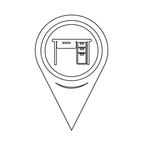 Mapa de la tabla de puntero icono de oficina vector