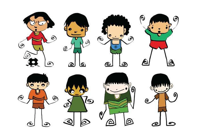 Conjunto de dibujos animados lindo hombre y niños jóvenes