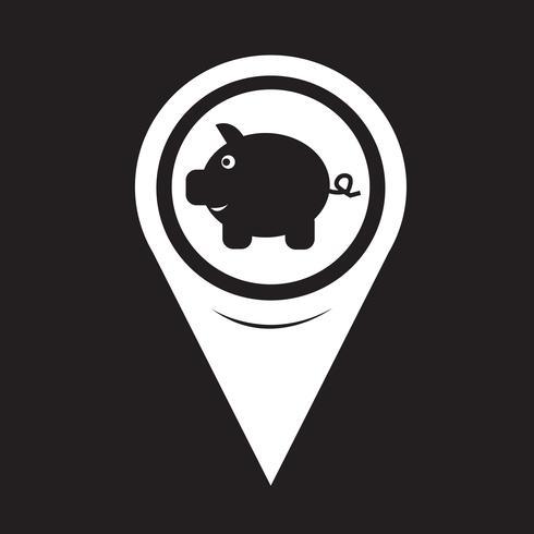 Map Pointer Piggy Bank Icon vector