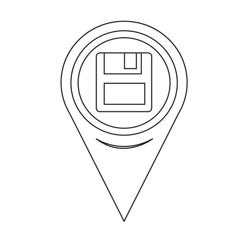 Map Pointer Floppy Disk Icon vector