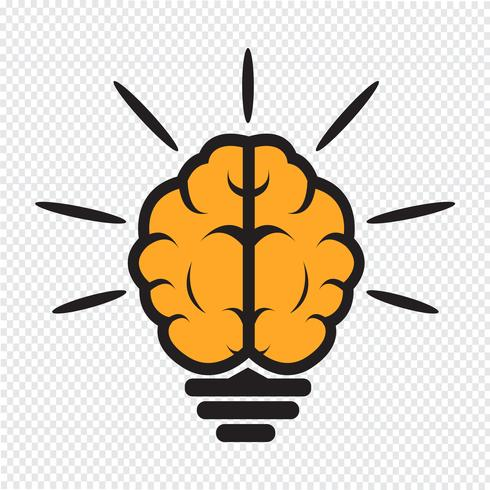 cerebro bombilla icono vector