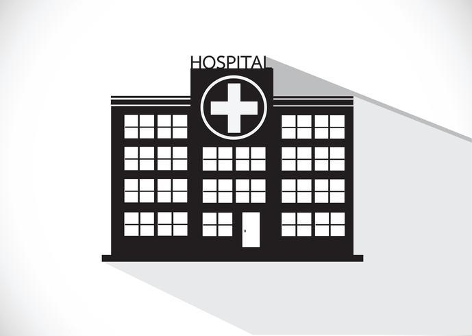 Diseño de icono de edificio de hospital en la ilustración vector