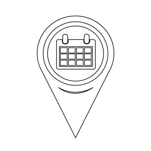 Icône de calendrier de pointeur de carte vecteur