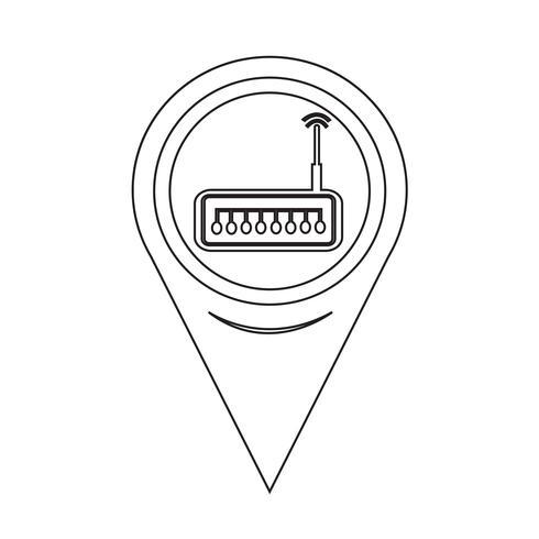 Icono del enrutador del puntero del mapa vector