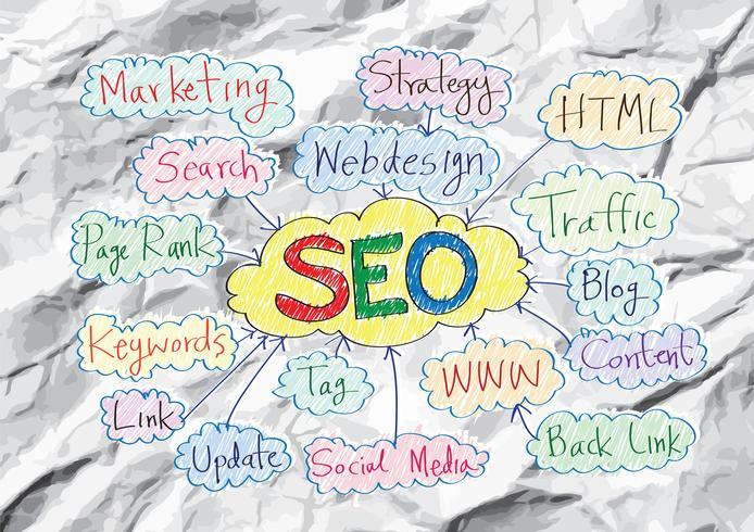 Seo Idea SEO Search Engine Optimization en papel arrugado vector