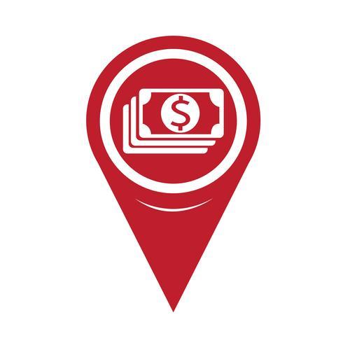 Icono de Pin Pointer Money del mapa vector