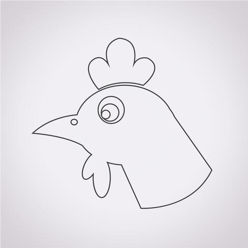 sinal de símbolo de ícone de frango