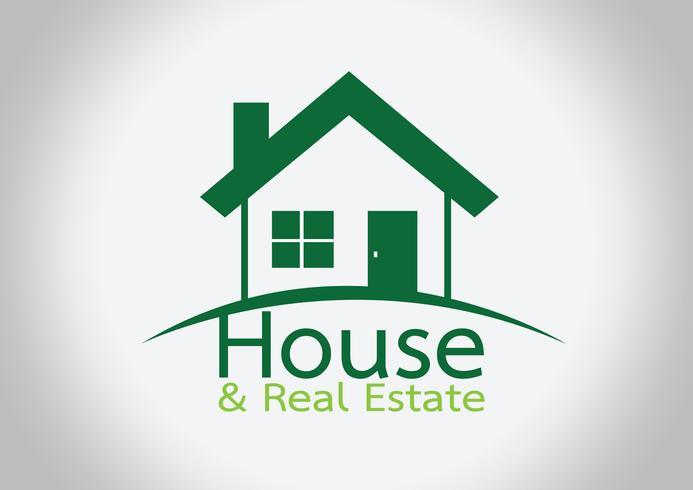 Hausikone und Real Estate Building-Zusammenfassungsdesign vektor