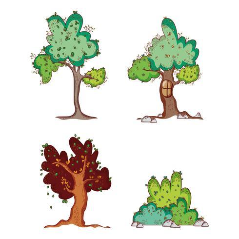 Uppsättning av träd doodles tecknade filmer
